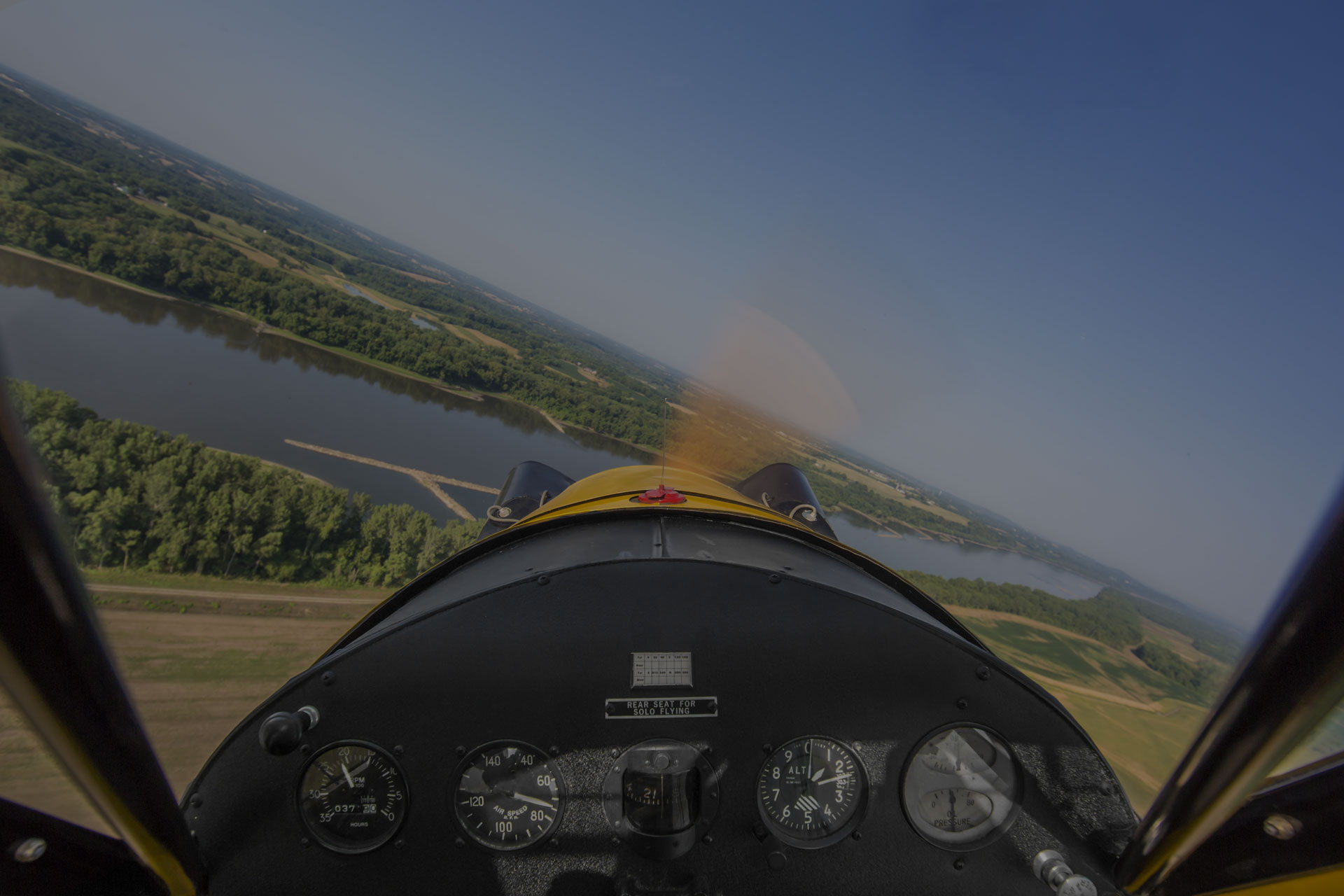 Cockpit view from small vintage aircraft